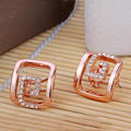 Rose Gold Plated Rhinestone Geometric Stud Earrings For Women Fashion Vintage New Top Brand Top Brand Jewelry Wholesale
