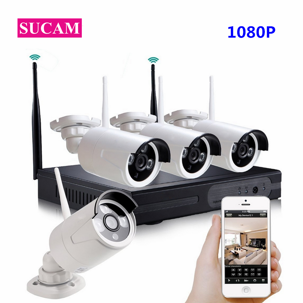SUCAM 4CH HD 2MP Home Security Wireless NVR IP Camera System 1080P CCTV Set Outdoor Wifi Cameras Video NVR Surveillance CCTV KIT image
