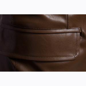 Image 5 - Size M 5XL men business casual leather pocket decoration new autumn and winter suits turn down coat collar Leather jacket cloth