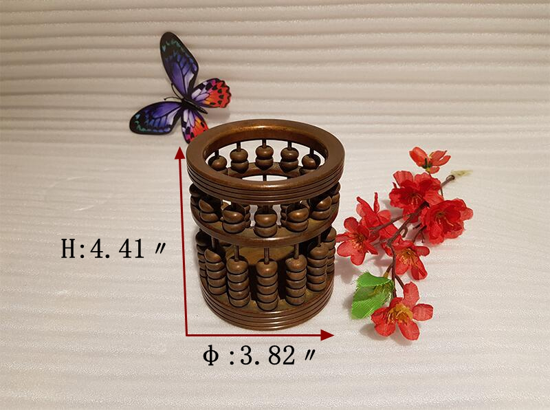 Chinese style vintage bronze brass abacus pen holder handmade ancient craft (4)_
