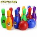 UTOYSLAND Bowling Conjunto de Dibujos Animados de Colores Estándar de 10 Pines, 2 Bolas De Boliche Niños niños Juguetes Educativos Deporte Al Aire Libre de Interior