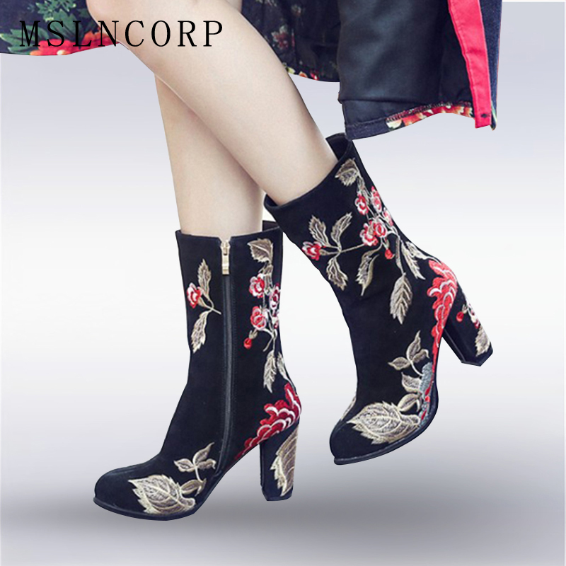 Size 34-43 New Genuine Leather Women Boots Spring Autumn Thick High Heels Cow Leather Snow Boots Embroider Shoes Knee high Boots брюки i love to dream брюки