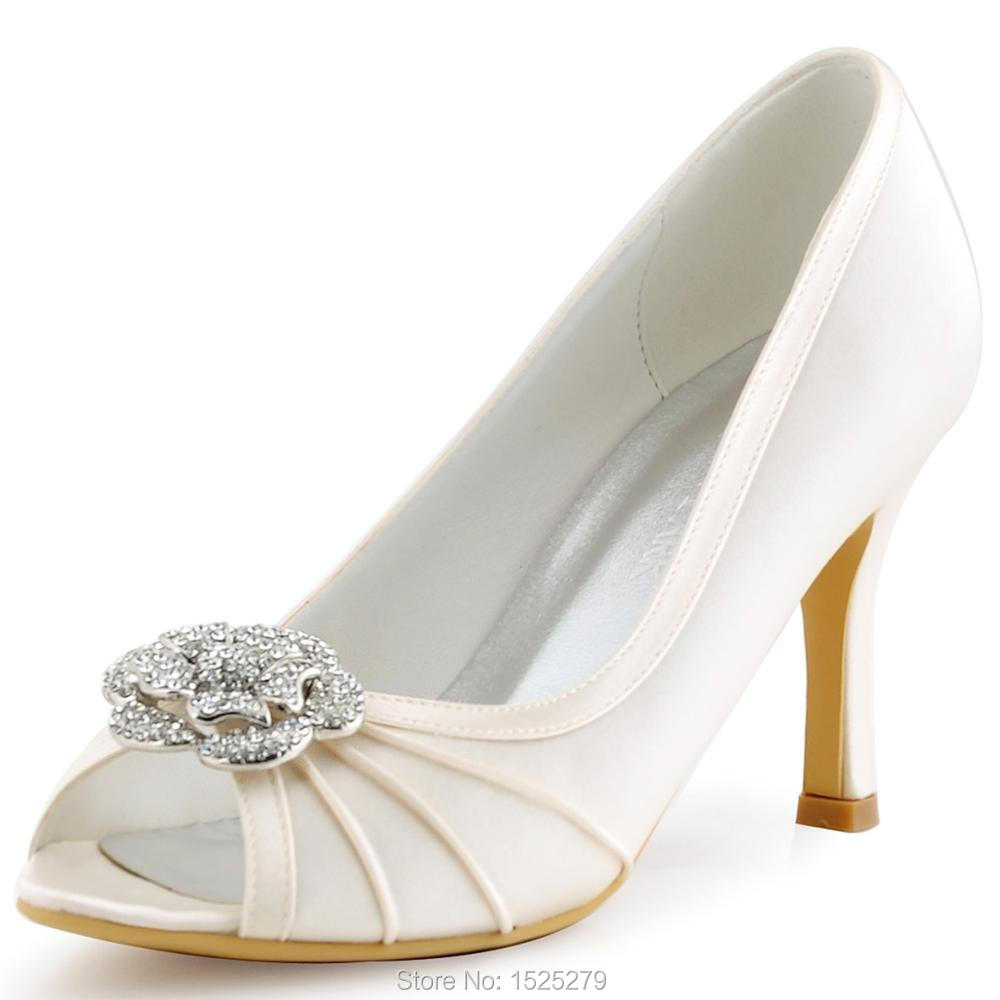 цена на Women Shoes EP2094AF Ivory White Beige Bride Party Pumps Peep Toe High Heel Satin Rhinestones Flower Bridal  Wedding Shoes