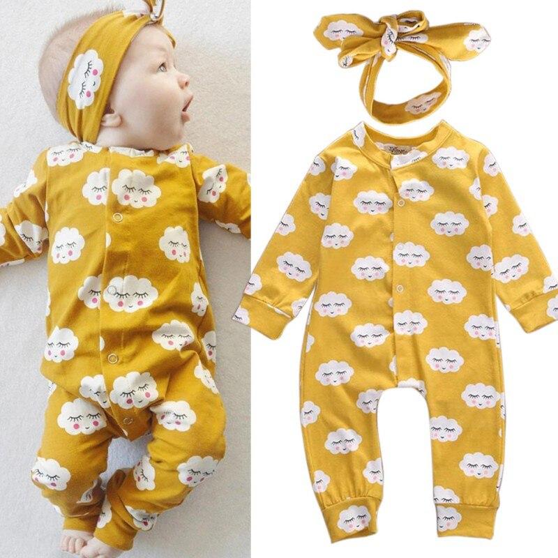 2pcs/Set Autumn Newborn   Romper   Infant Baby Boy Girl Long Sleeve Cotton   Romper   Button Jumpsuit Sweet Headband Clothes Outfit