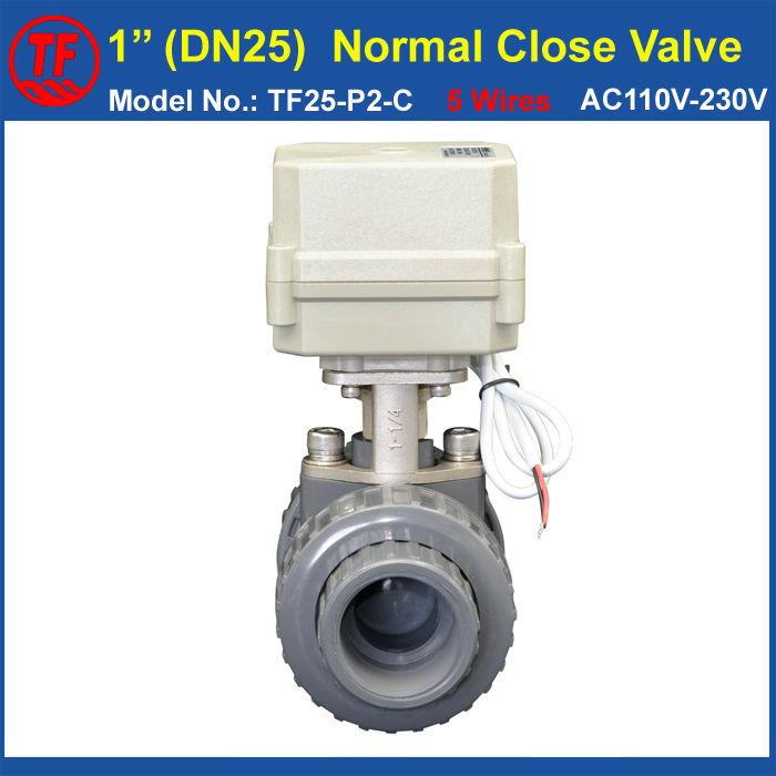 TF25-P2-C AC110V-230V PVC 1'' Electric Valve DN25 Normal Close Valve 5 Wires With Signal Feedback 10NM On/Off 15 Sec Metal Gear