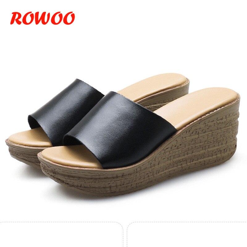 7 см Босоножки на высоких каблуках Для женщин Босоножки на платформе на танкетке пляжная обувь женские круглый носок летние кожаные женские...
