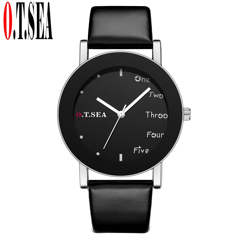 Fashion O.T.SEA Brand Black&White Leather Watch Men Women Dress Quartz Analog Wrist Watches W123