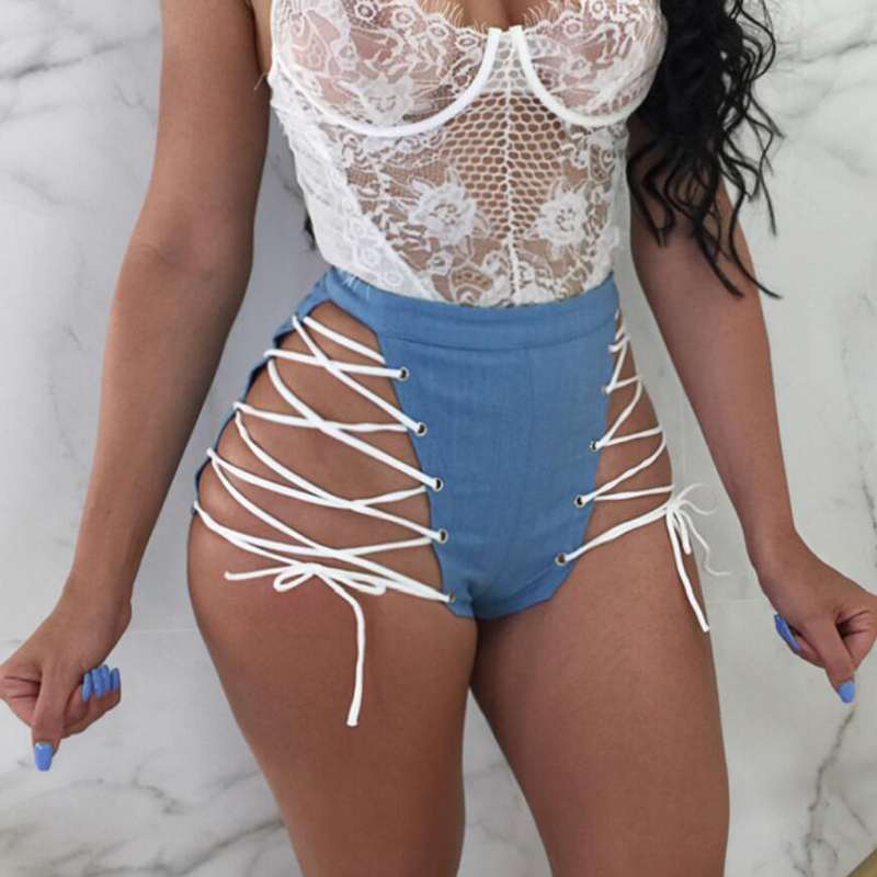Hot Lace Up Shorts Women Sexy Hollow Out Bandage Polyester Mid Waist Short Night Club Party White shorts women's 5 Color