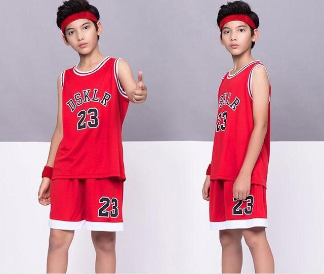 b1447dc34 9 colors Kids Sport DSKLR 23 Basketball Jersey,polyester children's wear Basketball  suit,child sport Vest shorts Black Red White