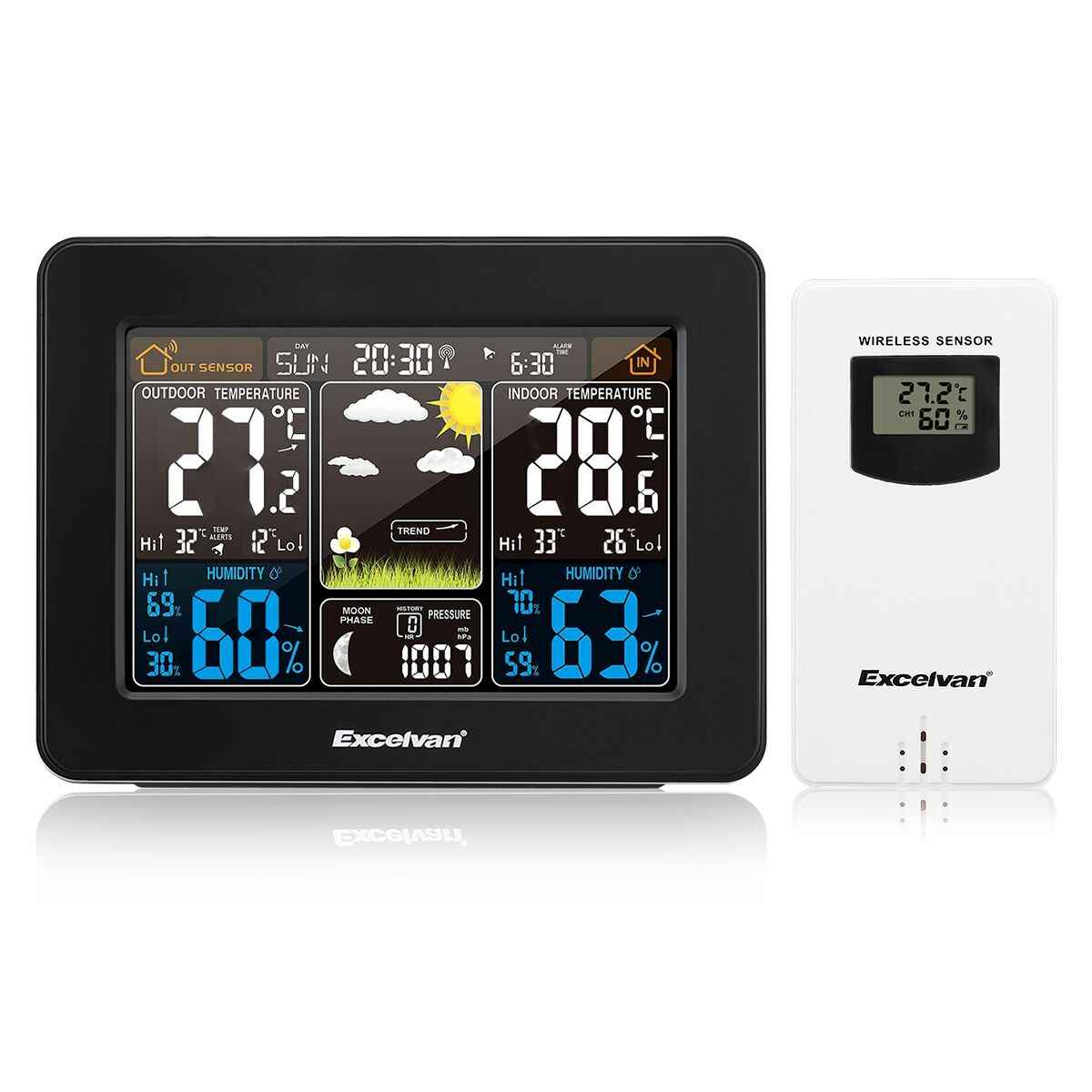Digital LCD Wall Clock Temperature Humidity Snooze Alarm for Indoor/&Outdoor