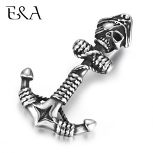 Stainless Steel Anchor Pendants Skull Pirate DIY Necklace Bracelet Hook Charms Findings Jewelry Making Supplies Parts Wholesale