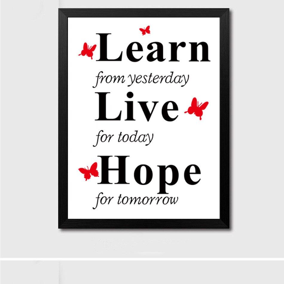 №W13 negro y letras blancas aprende vivo Hope creativo moderno ...