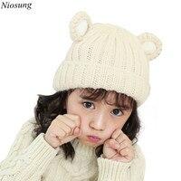 Niosung 2016 New Unisex Cute Baby Toddler Ear Pattern Vertical Stripe Knitted Winter Warm Hat Cap