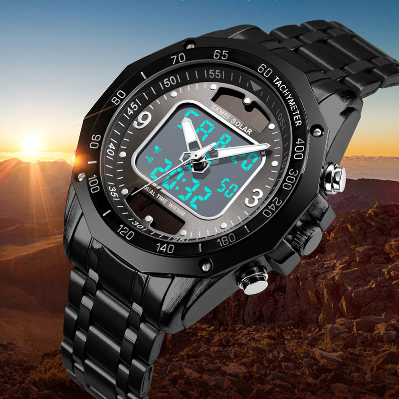 Men's Watches Solar Sports Digital Quartz Watch Men Clock Full Steel Waterproof LED Wrist Watch Relogio Masculino 2019 SKMEI