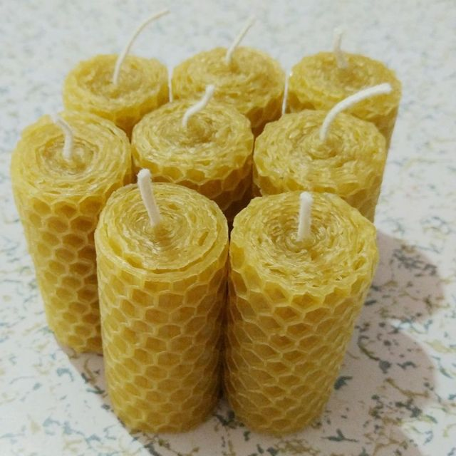 8 개/몫/많은 수제 압연 밀랍 촛불