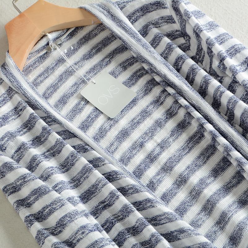 Japan Thin Stripe Cotton Knit Sweater No Buckle Summer Air