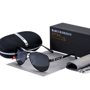 Image 2 - BARCUR Mens Sunglasses Polarized UV400 Protection Travel Driving Male Eyewear Oculos Male Accessories For Men