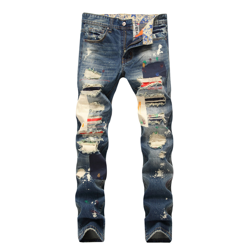 High qaulity new summer autumn mens colored distressed ripped hole jeans punk straight patchwork male denim trousers plus size