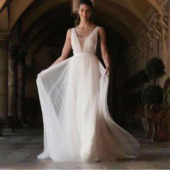 LORIE Boho Wedding Dress 2019 A Line Tulle Long Backless White Beach Wedding Dress Tulle V Neck Pleats Princess Bride Dress 2019 - DISCOUNT ITEM  42 OFF Weddings & Events