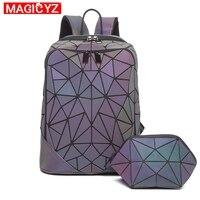 Fashion Luminous Triangle Sequin Backpack for Women Men set Rucksack Female lattice Backbag laser Holographic mochila sac a dos