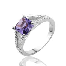 Square purple Crystal Rings Rose Gold Color Fashion Brand Silver Cubic Zirconia Jewelry Halo Engagement Rings Bijoux Size 6-9(China)
