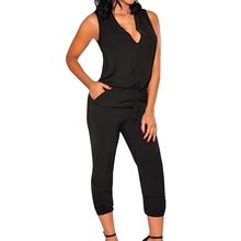 766e611dce V-Neck Beach Summer Women Overalls Jumpsuit 2018 Sexy Fashion Jumpsuits  Sleeveless Overalls Outfits(