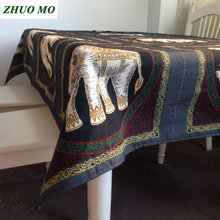 Elephant embroidery Table Cloth Bohemian Mandala kitchen Dining Home decoration Round Rectangle Tablecloths Hotel Cover