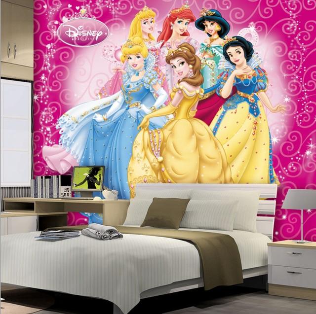 wall 3d bedroom cartoon disney custom mural nursery murals princesses princess wallpapers interior pink decor aliexpress backgrounds zoom designs lovely