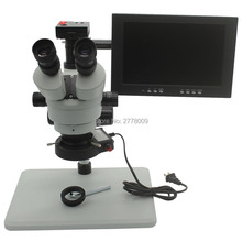 Cheaper Trinocular Stereo Microscope 3.5-90X Continuous Zoom Magnification 16MP 1080P HDMI Camera Large Table LED Lights 10-inch Monitor