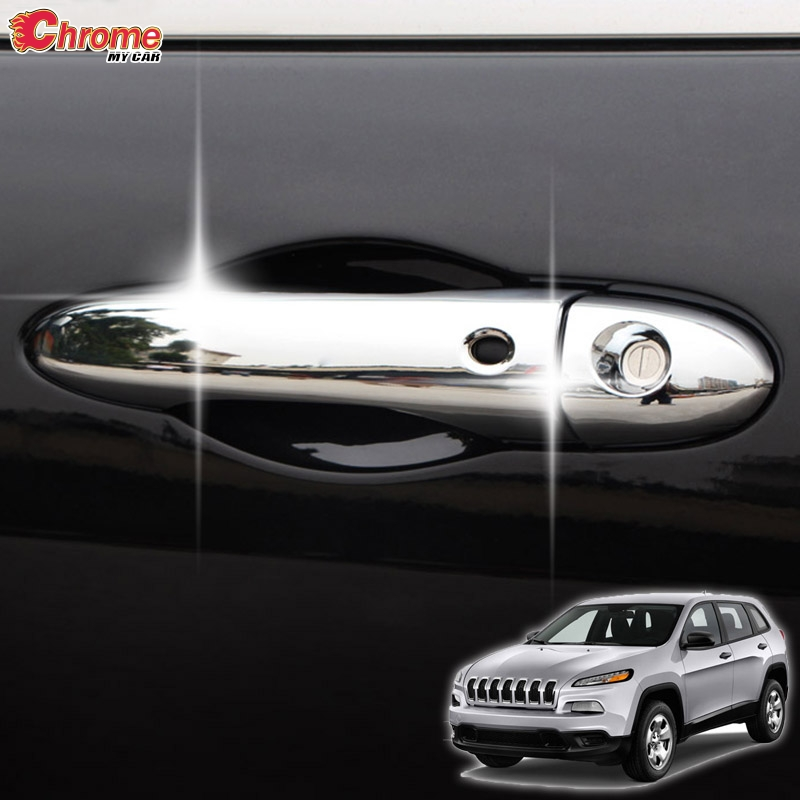 For Jeep Cherokee KL Side Door Handle Keyless Smart Key Chrome Cover Trim 2014 2015 2016 2017 2018 2019 Accessories Car Styling