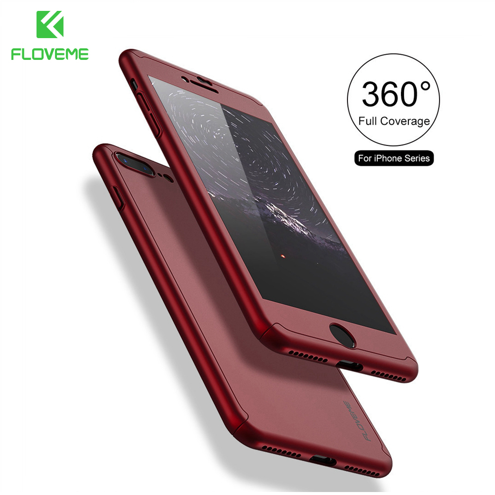 FLOVEME För iPhone 7 7 Plus Fodral Cover 360 graders helkropp härdat glas för iPhone6 ​​Xiaomi 5s 6 plus Redmi 3s Note 3 4 Väska