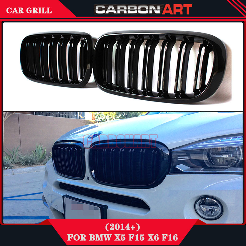 Replacement part X5M X6M glossy black design auto grill mesh For BMW X5 X6 serie F15 F16 xdrive vehicle front plastic mesh grill f15 f16 kidney gloss black abs plastic original style front racing grill grille for 2014 2015 2016 bmw f16 x6 bmw f15 x5
