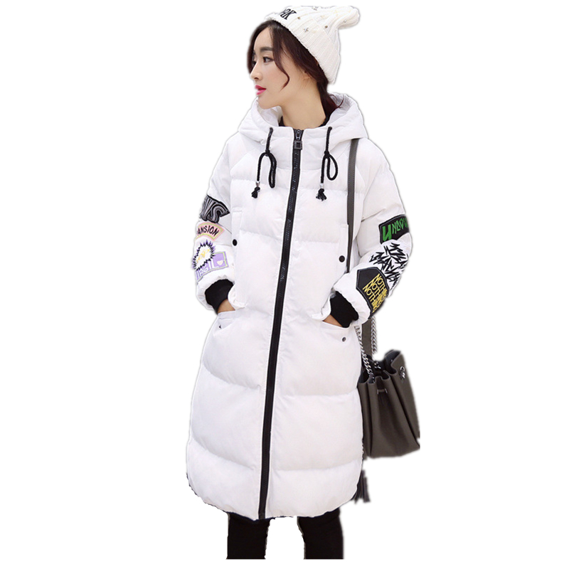 ФОТО S-3XL Newest Style Winter Women Down cotton coat Large Size long section letter print overcoat Hooded Parka Loose warm Outwear