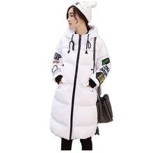 S-3XL Новый Стиль Зима Женщины Вниз пальто хлопка Большой Размер длинный отрезок письмо печати пальто С Капюшоном Куртка Свободные теплый Пиджаки