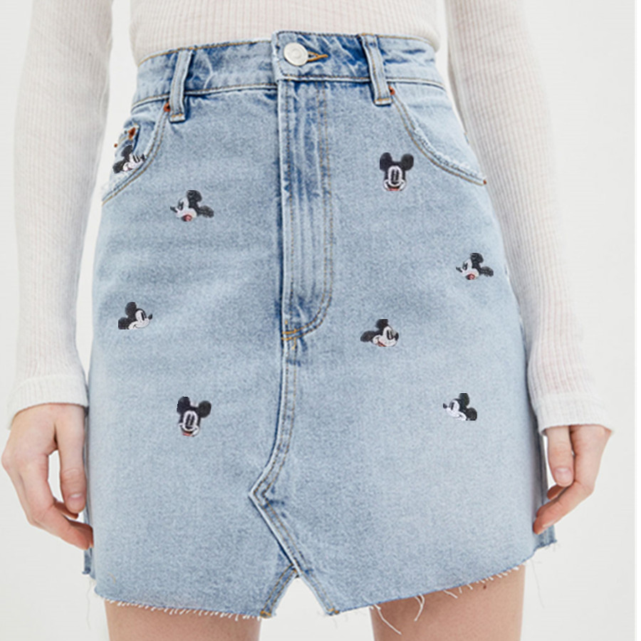 Withered 2019 Denim Skirts Women Vintage Cute Cartoon Mouse Embroidery High Waist A-line Mini Burrs Denim Skirt Women 2piece Set