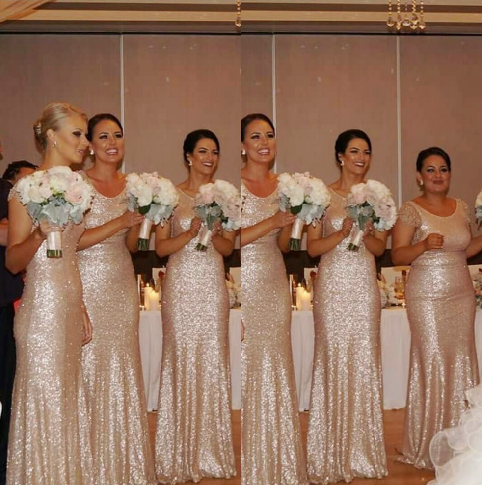 Champagne Sequin Bridesmaid Dresses