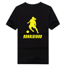 2017 Legends Ronaldo de Assis Moreira T shirt Fashion mens  100% cotton short sleeve Ronaldinho shadow T-shirt 0112-1