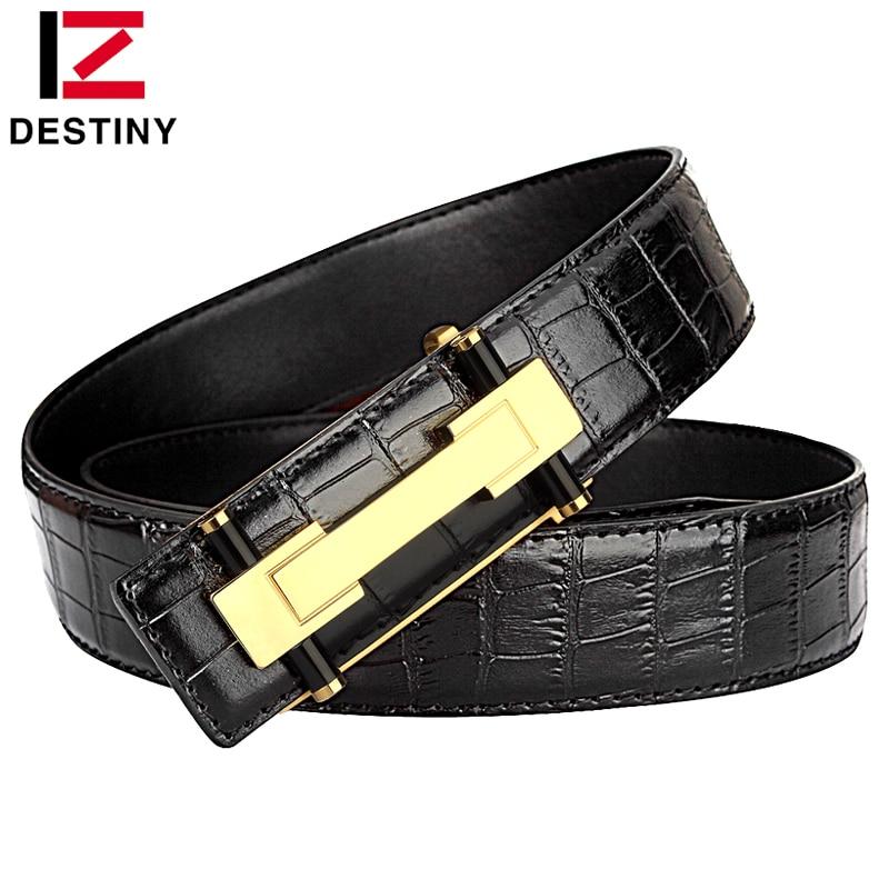 DESTINY Fashion Men Belt Luxury Crocodile Pattern Copper Smooth Buckle High Quality Genuine Leather Belts For Man Black Brown
