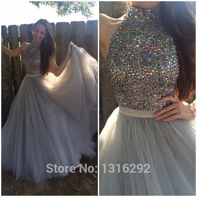 b4af7f6eb3e3 Fully Beaded Halter Top Coffee Silver Long Tulle Prom Dresses Ball Gowns  2015 on Aliexpress.com
