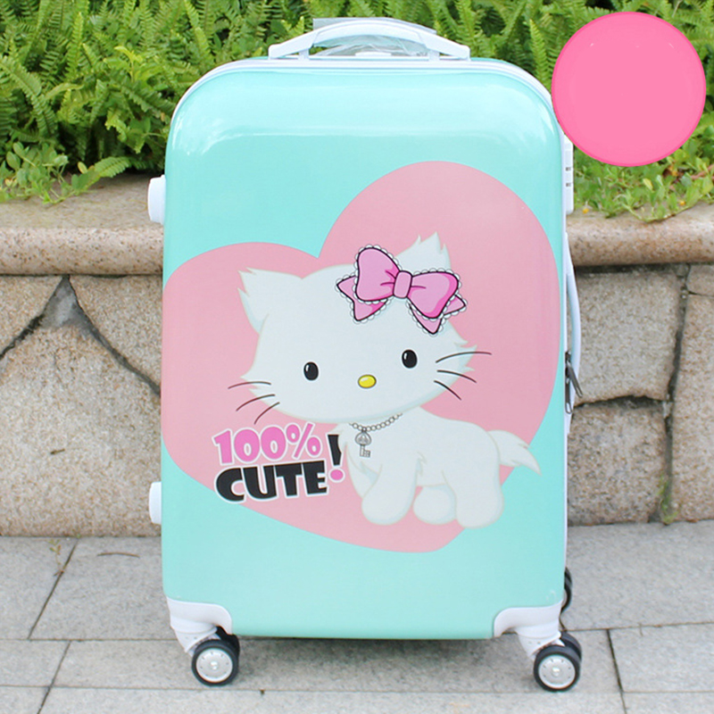 Cute Cartoon Cat Children Rolling Luggage Spinner 24 inch Kid Suitcase Wheels 20 inch Students Carry on Trolley Travel Bag Trunk