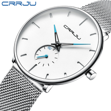 Mens Watches CRRJU Top Brand Luxury Men Quartz Watch Sliver Mesh Strap Casual Sport Watches for Mens Relogio Masculino 2150