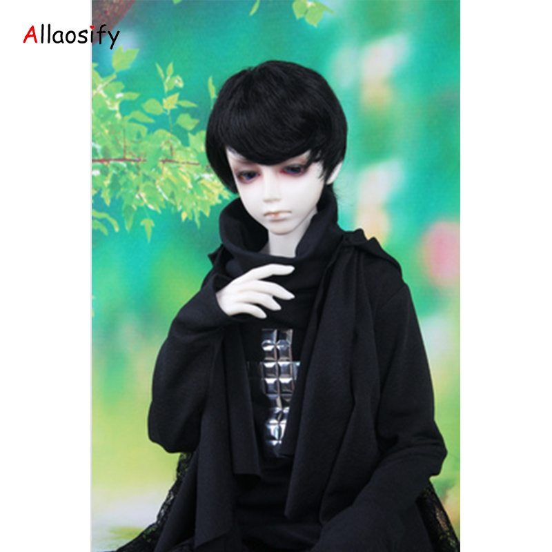 BJD Wig for 1/3 1/4 1/6 High Temperature Fiber boy short curly hair for Dolls doll wig White gray orange black free shipping