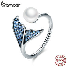 BAMOER Authentic 925 Sterling Silver Adjustable Dolphin Tail Blue CZ Finger Rings for Women Sterling Silver Jewelry Gift SCR286(China)