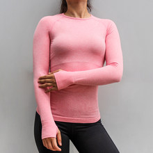 BINAND Seamless Breathable Yoga Top Solid High Elastic Slim Workout Long Sleeve Women Bodybuilding Sport Gym Fitness Shirt(China)