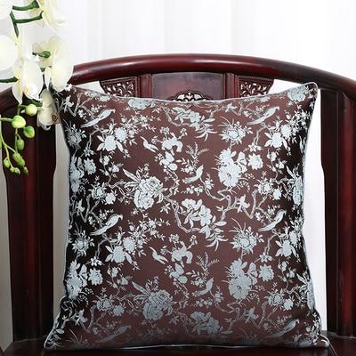 Винтажная квадратная большая подушка для дивана, стула, автомобиля, Высококачественная декоративная шелковая парчовая Подушка для спины 40x40 43x43 40x50 50x50 60x60 см - Цвет: Шоколад