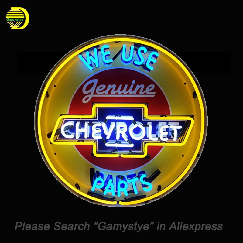 NEON SIGN For Chevrolet Parts Neon Bulbs Sign We Use retail signage HANDmade LOGO hanging neon signs vintage personalised light