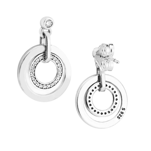 Image 3 - Circles Drop Earrings with Clear CZ Original 925 Sterling Silver Jewelry Fashion Earrings for Women DIY Charms Beads Jewelry