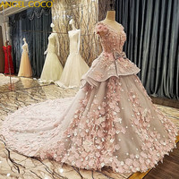 Luxury Princess Dress Long Tailling Ball Gown Flower Girl Dresses Wedding Kids Pageant Dress Birthday Performance Costume