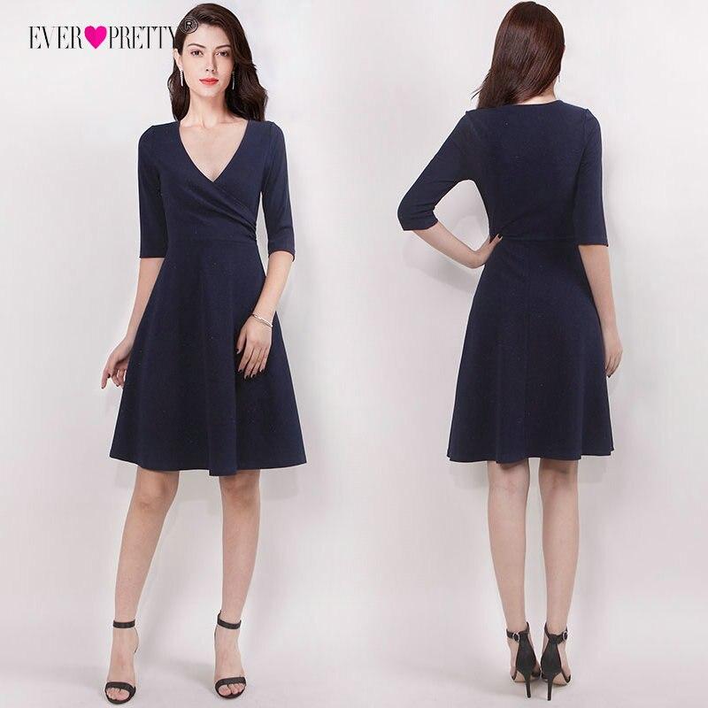 Homecoming Dresses 2018 Navy Blue V-neck Chiffon Short Sleeve Mini Elegant Women's Short Party Dresses 8 Grade Graduation Dress