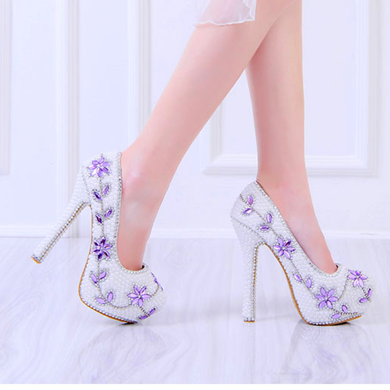 Parti Sexy Plate Chaussures 14cm Grande Taille forme Mariage Strass Mariée De 12 Luxe Cm Cristal Talons White Pompes Femmes Haute Perle 43 Fleur Heel PxqBwa6P